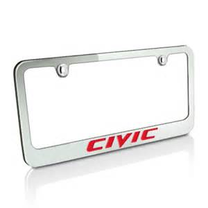 Honda Civic License Plate Frame Honda Honda Civic Chrome Metal Auto License Plate