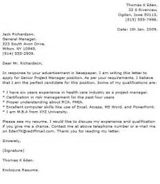 Project Leader Cover Letter by Project Manager Cover Letter Exles