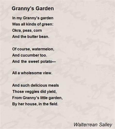 Garden Poems by S Garden Poem By Walterrean Salley Poem