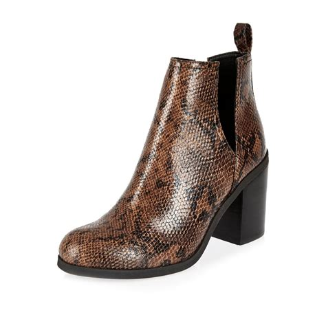 river island boots for lyst river island brown snake print cut out ankle boots