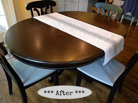 How To Stain A Dining Room Table Hometalk Kitchen Table And Chair Makeover With Stain And Paint