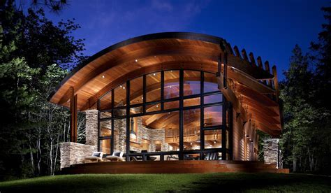 Cabins In The Forest With Glass Wall Dining Room ~ Clipgoo