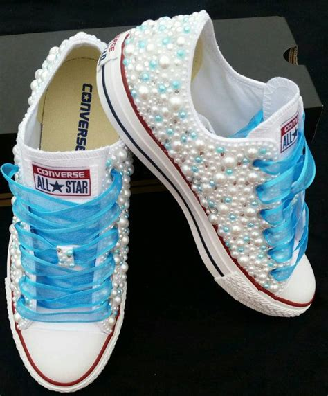 How To Bar Lace Converse Low Tops by Bridal Converse Wedding Converse Bling Pearls Custom