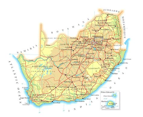 free printable road maps south africa detailed physical and road map of south africa detailed