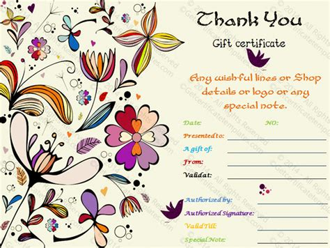 thank you for the gift card template special thank you gift certificate template