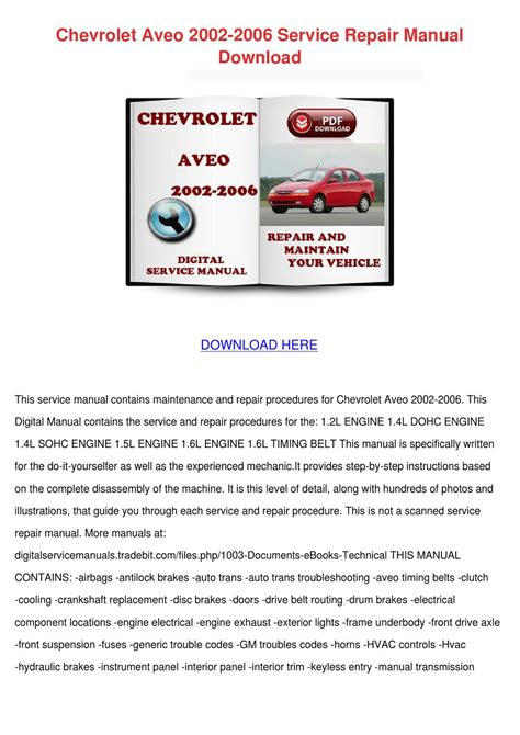 chevrolet uplander 2006 owners manual download manuals tech chevrolet aveo 2002 2006 service repair manua by danibliss issuu