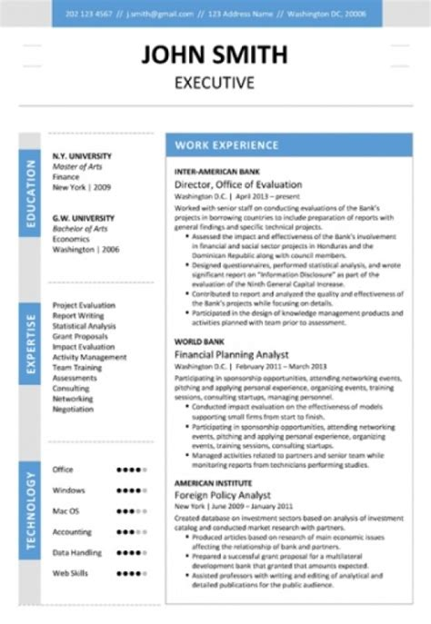 6 executive resume templates word website wordpress blog