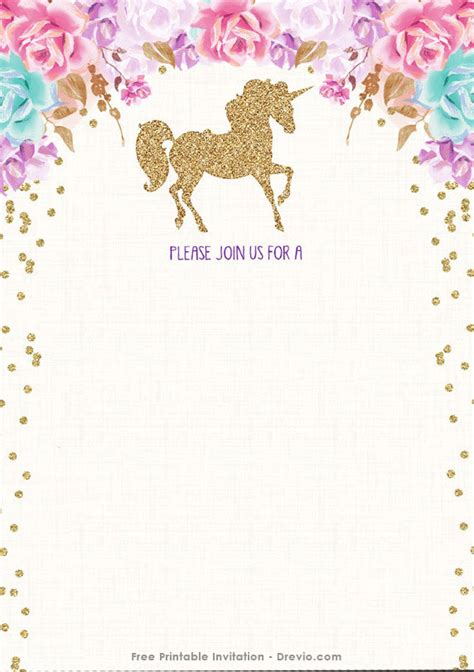 Unicorn Invitations Free Template Free Printable Golden Unicorn Birthday Invitation Template Free Invitation Templates Drevio