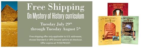 A Free Shipping Mystery - free shipping on mystery of history homeschool curriculum