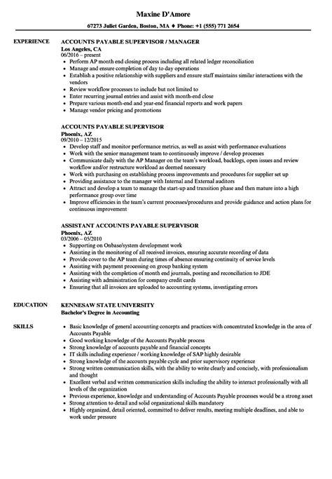 accounts payable supervisor resume sles velvet