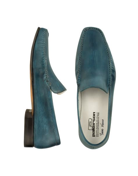 italian loafer shoes lyst pakerson petrol blue italian handmade leather