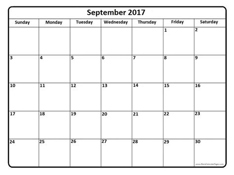 Calendar For September 2017 September 2017 Calendar With Us Holidays