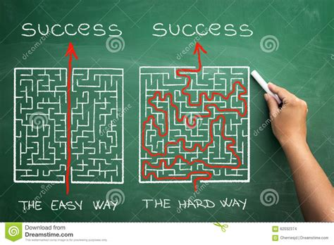 www easy hard and easy way illustrated shown by maze stock photo