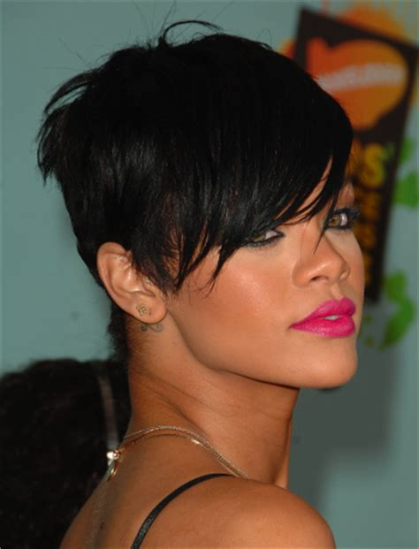rihanna short hairstyles front and back