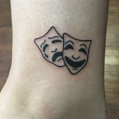 small modern tattoos tragedy and comedy mask theatre tattoos