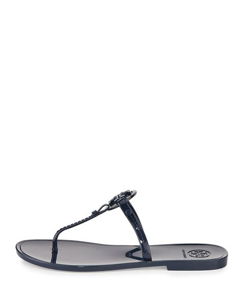 burch jelly sandals burch colori logo detail jelly sandals in blue lyst