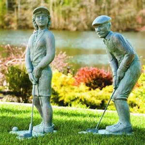 nostalgic golfer set man amp woman sculptures