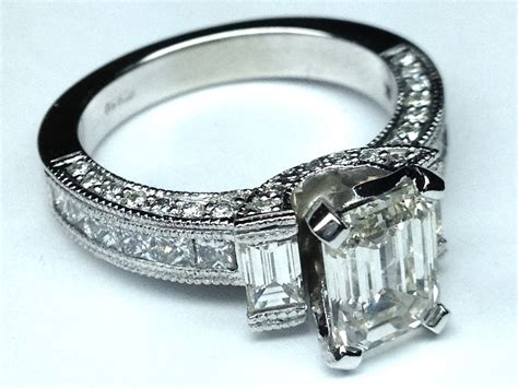 engagement ring vintage emerald cut engagement