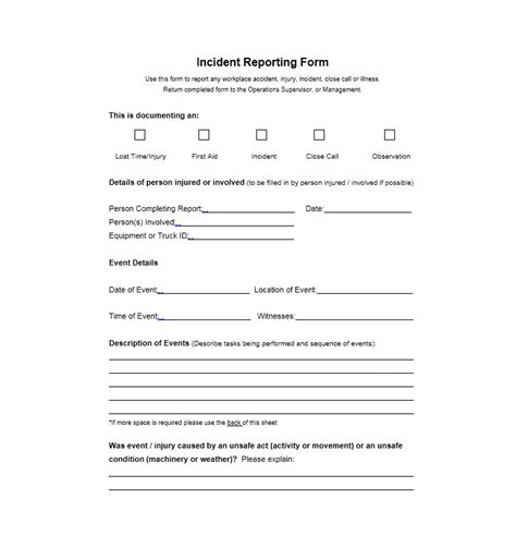 Insurance Incident Report Template 60 incident report template employee generic