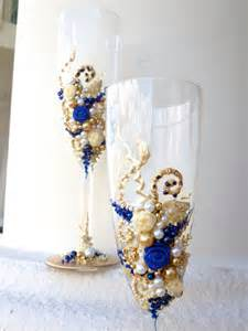 royal blue and ivory wedding decorations decorated wedding chagne glasses toasting