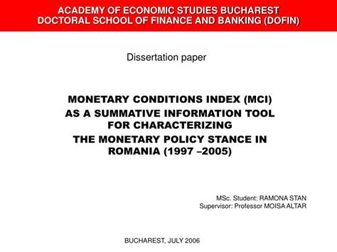College Of Banking And Financial Studies Mba by Ppt Academy Of Economic Studies Bucharest Doctoral
