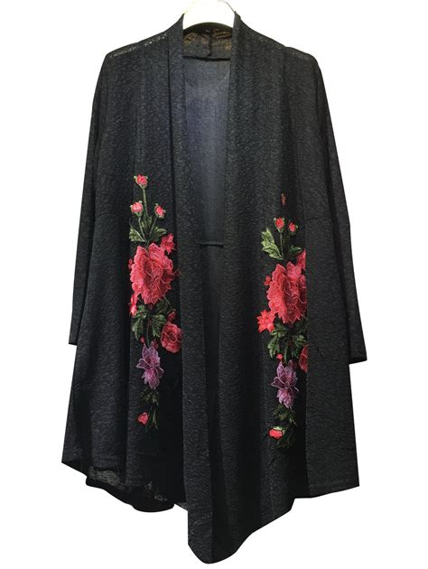 Floral Embroidered Cardigan sweaters cardigans black floral embroidered