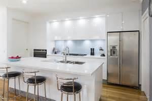 Country Kitchen Designs Australia Sleek Contemporary White Kitchen With Pale Blue Glass