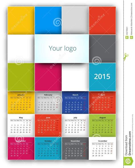 calendar 2015 stock vector image 45276651