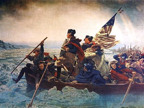 george washington on boat outta the way washington s crossing at the delaware