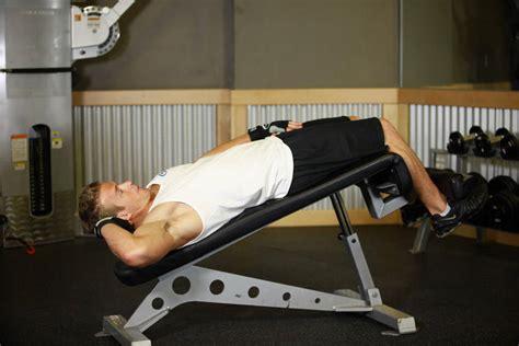 flat bench leg pull in crunch decline oblique crunch guide fastfitness4u
