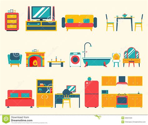 Living Room Flat Design Vector Furniture House Interior Icons And Symbols Set Stock