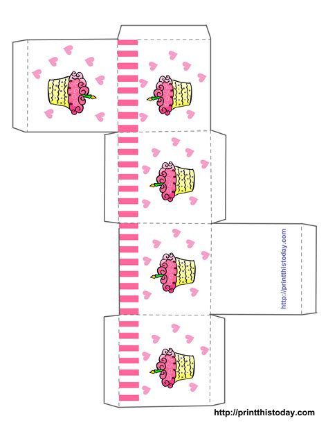 Free Cupcake Box Template free printable birthday favor boxes templates