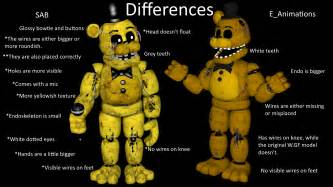 Differences between the golden freddy models fivenightsatfreddys