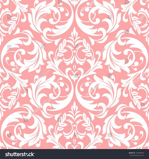 Pink And White Pattern Wallpaper Ornament Stencil Template