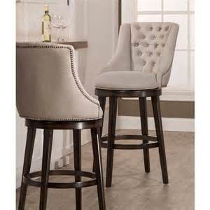 Halbrooke upholstered swivel bar stool in smoke by hillsdale furniture