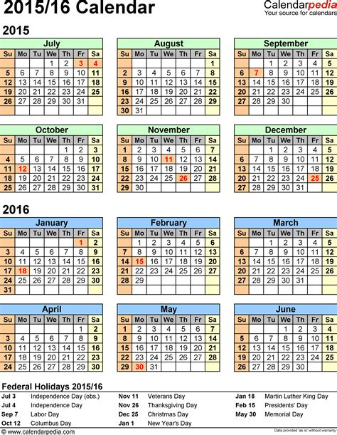 2015 2016 calendar template split year calendar 2015 2016 printable excel templates