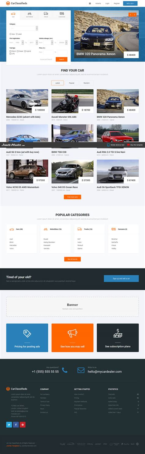 joomla monster car classifieds v1 0 3 automotive catalog