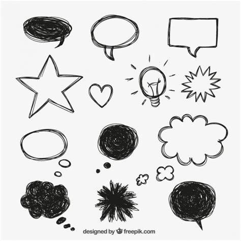 Speech Bubbles In Doodle Style Vector Free