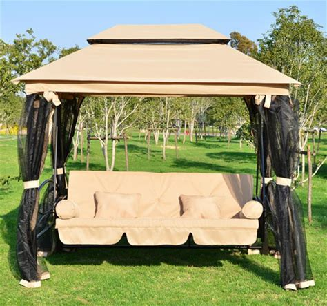 Patio Swing Netting Outsunny Outdoor 3 Person Patio Daybed Canopy Gazebo Swing
