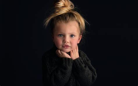 girl portrait wallpaper cute baby girl portrait blonde black background