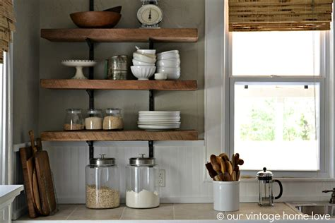 Kitchen Shelving Ideas | our vintage home love reclaimed wood kitchen shelving