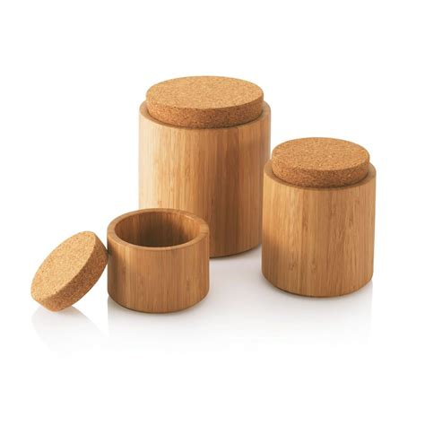 Large Deco Medium Deco bamboo storage bamboo cork canisters small medium
