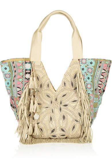 Dutchys Nana Doctor Bag by Antik Batik Nana Fringed Leather And Woven Cotton Tote