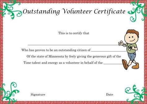 volunteer certificate template download volunteer