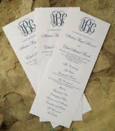 Customizable Wedding Programs Custom Wedding Program Tea Length With Elegant Monogram