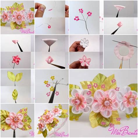 paper ribbon flower tutorial how to make golden sakura ribbon flowers step by step diy