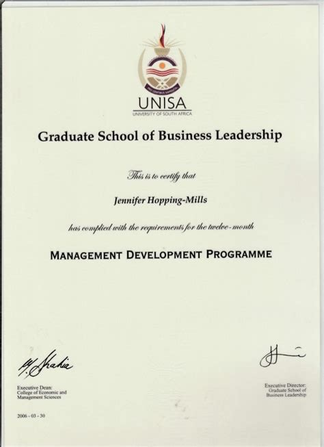 Mba Unisa Subjects by Unisa Mdp Diploma 2006