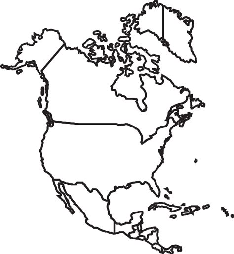 north america map coloring page