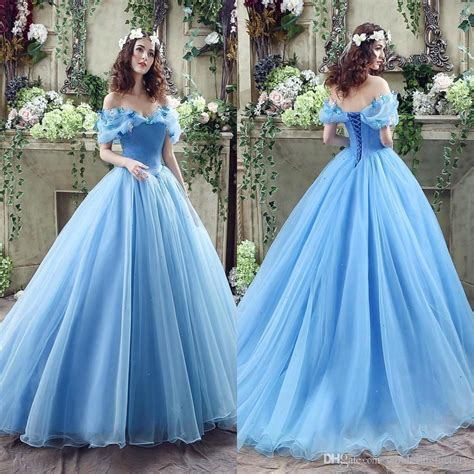 Longdress Cinderella Blue Butlerfly 2016 real image cinderella blue prom dresses shoulders beaded butterfly organza