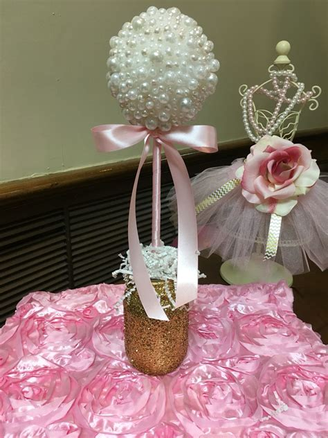 Baby Shower Table Center Pieces by Pearl Table Centerpiece Pink Gold Glitter Pearls